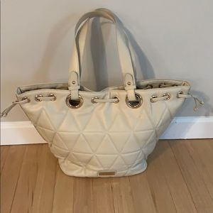 Melie Bianco cream color quilted tote handbag.